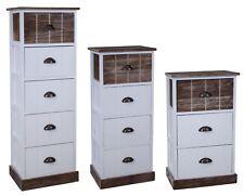 Kommode 111cm hoch Schrank + Schubladen braun Landhaus Shabby Chic Vintage Weiß