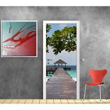 Sticker de porte trompe l'oeil déco Maldives 612
