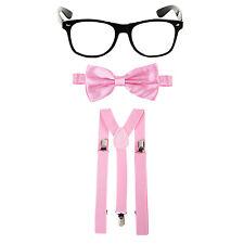 Geek Nerd Bowtie Fancy Dress Costume w/ Glasses + Bow Tie + Braces - Baby Pink