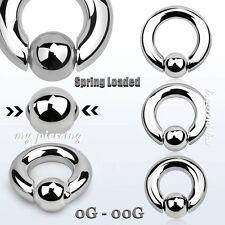 """2pcs. 8g, 6g, 4g, 2g, 0g, 00g~1/2""""- 3/4"""" Steel Spring Loaded Captive Bead Rings"""