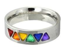 Pride Shack - Rainbow CZ Triangles Ring - LGBT Lesbian Gay Pride Ring Steel