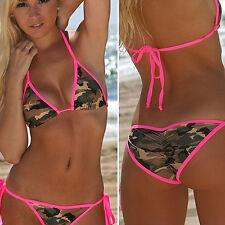 kf_Women Summer Beach Bandage Camouflage Print Push-up Bra Briefs Bikini Set Del