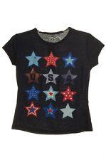Girls Fourth 4th of July SS USA Patriotic Glitter Star Shirt 6 6X 7 8 10 12 NEW