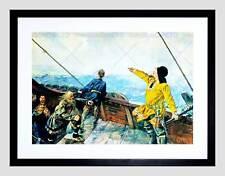 Escena Histórica Viking Longship Teil Ericson América Océano Art Print B12X12204
