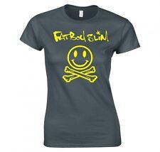 "Fatboy Slim ""Smiley Skull & Crossbones"" señoras Skinny Fit Camiseta Nueva"