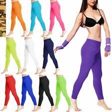 Donna Microfibra Leggings Slim Fit piena lunghezza Vita Elasticizzata Pantaloni