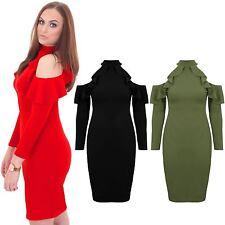 Womens Off Shoulder 3/4 Sleeve Frill Ruffle Bardot Bodycon Turtle Neck Dress