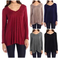 Fashion Womens V-Neck A-Line Tunic Long Sleeve Loose Top Blouse T-Shirt Plus USA