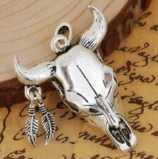 Bull Skull Pendant - Antiqued Silver Plated Cow Skull C5493 - 1, 2 Or 5PCs