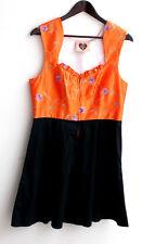 Damen Trachten Dirndl ärmellos orange, Rock schwarz Gr. 40 v. Busserl Trachten