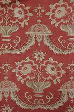 Antique French PRINTED LINEN drape curtain 18th century design ~ block printed