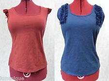 **FORCAST** BNWT $29.99 Blouse 16 XL Blue Red Ruffles Top Cotton Blend Stretch