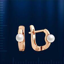 Gold Ohrringe 585 Baby Creolen Kinderohrringe aus Rotgold 585 mit Perlen Neu