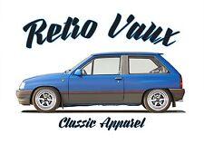 VAUXHALL NOVA  t-shirt. RETRO VAUX.  CLASSIC CAR. MODIFIED. OPEL CORSA.