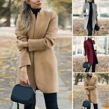 Winter Long Coat Women Casual Office Slim Wool Blazer Jacket Overcoat Outwear
