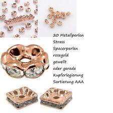 20 Metallperlen Rondelle Strass Spacer Beads Zwischenperle Schmuckperle rosegold