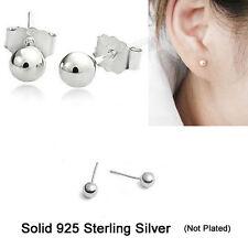 925 Sterling Silver Stud Earrings Size 2 mm, 3 mm, 3.5 mm, 4 mm, 5 mm