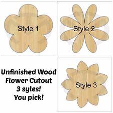 Unfinished Wood Flower Door Hanger Laser Cutout, Home Decor, Various Options