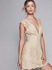 Free People OB534355 Ivory One Million Lovers Lace Mini Dress - $128
