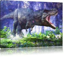 T-Rex Dinosaurier im Wald Kunst Pinsel Effekt Leinwandbild Wanddeko Kunstdruck
