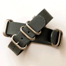Grey ZULU Watch Strap: 5 Ring Matt Stainless Steel : 20mm, 22mm or 24mm (FL85)