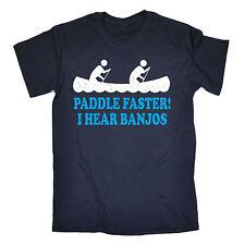 Pagaia PIÙ VELOCE SENTO Banjo T-shirt Redneck Kayak Canoa divertente regalo festa del papà