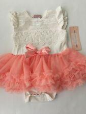 Nanette Lepore Baby Girl Crochet Tutu Bodysuit Size 18 24 Months Ivory Peach