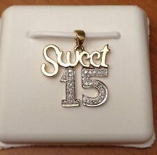 "Yellow Gold Sweet 15 quinceañera Pendant Charm Nacklace Diamonds 18"" Chain"