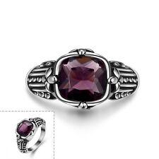 Stainless Steel Antique Gothic Biker Tribal Ring Black Purple Men's Unisex B203