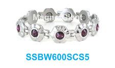 Purple Crystals on Silver Flowers Women magnetic stainless steel link bracelet