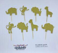 CUTE SAFARI ZOO JUNGLE ANIMAL CUPCAKE TOPPERS LION ELEPHANT GIRAFFE MONKEY GOLD