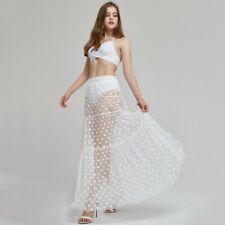 Women Mesh Slip Skirt Polka Dots See Through Pleated Petticoat Underskirt NR9