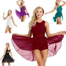 Womens Ballet Dance Costumes Lyrical Chiffon Dress Wrap Leotard Skirt Dancewear