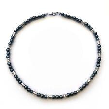 Collier Homme Perles HEMATITE noir + Métal