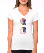 AMERICAN FLAG SUNGLASSES cute aviators summer 4th of July Women's V-Neck T-Shirt