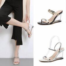 Womens Clear Wedge High Heels Sandals Slip On Slippers Summer Peep Toe Shoes Sz
