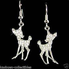 w Swarovski Crystal Bambi Fawn Deer Lover Charm Dangle Earrings Xmas Jewelry New