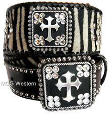 Blazin Roxx Western Womens Belt Leather Hair Rhinestone Cross Zebra N3422262