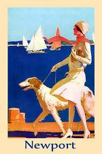 Fashion Lady Borzoi Dog Newport Beach Travel Fine Vintage Poster Repro FREE S/H