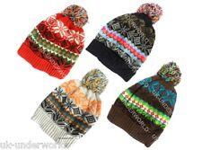 Childrens chicas chicos Fairisle Nordic Beanie plegar Tejido Esquí Sombrero Invierno Cálido