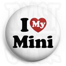 I Love My Mini - Button Badge - 25mm Heart Car Badges, Fridge Magnet Option