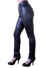 vera pelle donna pantaloni in nero DANI ziegen-nappa vita alta aderente S-2XL S