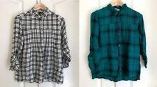 Hollister Women Shirt M Pintuck Black Green Plaid Long Sleeve Swing Long Sleeve