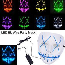 Halloween Scary Maske Cosplay LED Kostüm Mask EL Wire Light Up Purge Movie Fancy