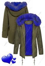 NEUF pour femmes capuche ample Bleu Fourrue MANTEAU PARKA KAKI VESTE TAILLE 8 16