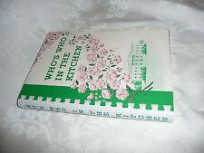 JFK LBJ Era Washington DC Cookbook Who's Who in the Kitchen Gold Star Wives 1961