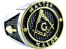 Masonic Master Mason Enamel Gold Plated Stainless Steel rings sz 8 -14.5