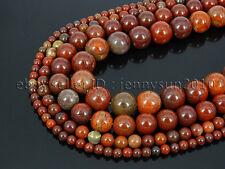 Natural Apple Jasper Gemstone Round Spacer Beads 15.5'' 4mm 6mm 8mm 10mm 12mm