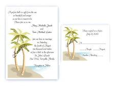 100 Personalized Custom Palm Tree Beach Bridal Wedding Invitations Set