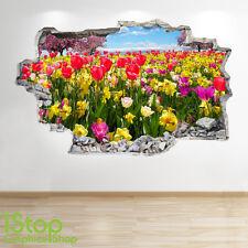 TULIPE Champ Autocollant Mural 3D LOOK - chambre salon nature Z47